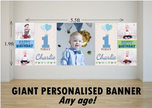 Personalised GIANT Large Boys Heart Balloons Happy Birthday PHOTO Poster Banner N70 ANY AGE